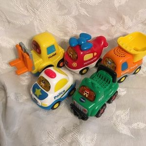 5 vtech vehicle toys*police*helicopter*dump truck